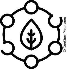 eco, contorno, estilo, icono, agronomist, hoja