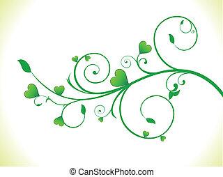 eco, coração, abstratos, planta verde