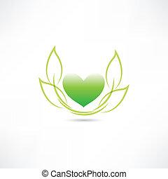 eco, coração, verde