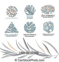 eco, cosméticos, logotipo, jogo, com, folhas, e, flores