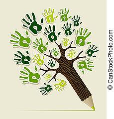 eco, crayon, arbre, amical, mains
