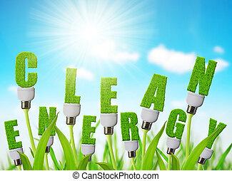 eco, crescente, energia, plant., bulbo