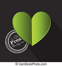 eco, cuore, vettore, verde