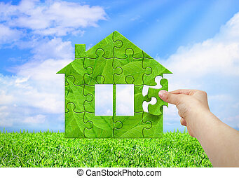 Good Eco, Daheim, Begriff, Hand, Bauen, Grünes Haus, Von, Puzzle