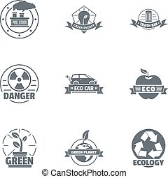 Eco danger logo set, simple style