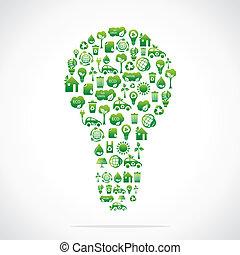 eco, desenho, ícone, verde, bulbo