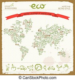 Eco Design Concept In World Map Shape