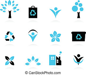 Eco design elements isolated on white