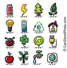 eco, disegnare, mano, cartone animato, icone