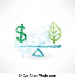 eco, dollar, evenwicht, grunge, pictogram