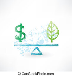 eco, dollaro, equilibrio, grunge, icona