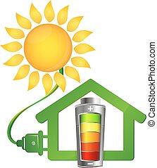 eco, dom, energia, słoneczny