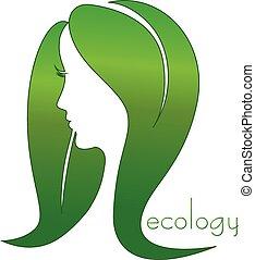eco, donna, capelli, mette foglie, logotipo
