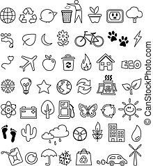 Eco doodle icon set
