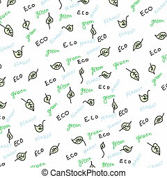 eco, doodle, liście, słowo