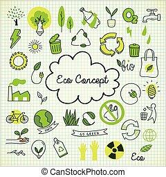 eco, doodle, nuta, pojęcie, papier