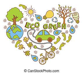 eco, doodle, zielony, chorągiew