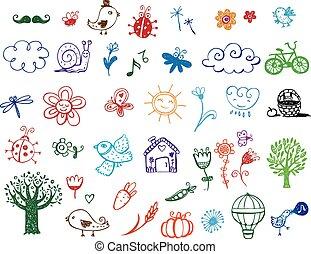 eco, doodles, conjunto