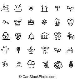 eco, doodles, leafs, アイコン