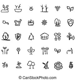 eco, doodles, leafs, icono