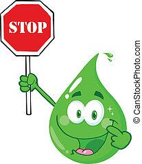 eco, droppe, stoppskylten, grön, holdingen
