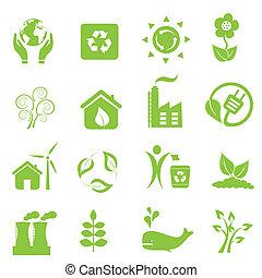 eco, e, meio ambiente, ícones