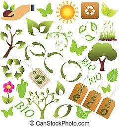 eco, e, meio ambiente, símbolos