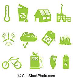 eco, e, riciclaggio, icona, set