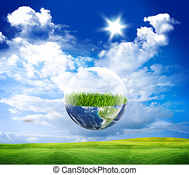 eco earth - Earth in bubble water. Eco green
