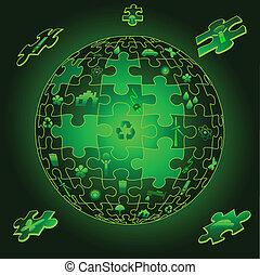 Eco Earth in puzzle pieces