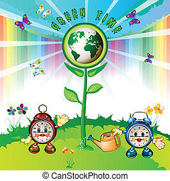 Eco Earth with cartoon clocks