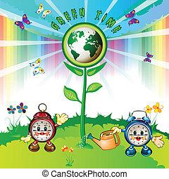 Eco Earth with cartoon clocks