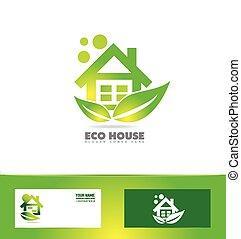 Eco ecological house real estate logo