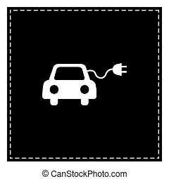 Eco electric car sign. Black patch on white background. ...
