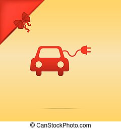 Eco electric car sign. Cristmas design red icon on gold background.