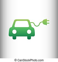 Eco electric car sign. Green gradient icon on gray gradient...