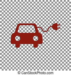 Eco electric car sign. Maroon icon on transparent background...