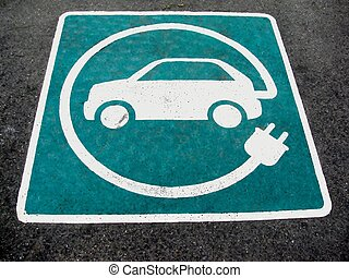 Eco electric car sign on asphalt