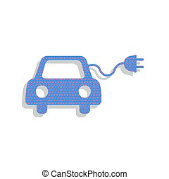 Eco electric car sign. Vector. Neon blue icon with cyclamen polk