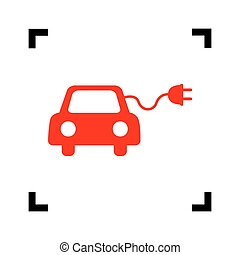 Eco electric car sign. Vector. Red icon inside black focus corners on white background. Isolated.