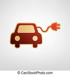 Eco electric car sign. Vector. Red icon on gold sticker at light gray background.