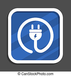 Eco electric plug blue flat design square web icon