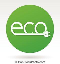Eco electric plug green vector icon.