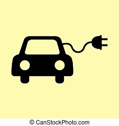 Eco electrocar sign. Flat style icon vector illustration.