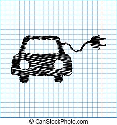 Eco electrocar sign. Flat style icon with scribble effect on...