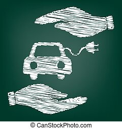 Eco electrocar sign. Flat style icon with scribble effect