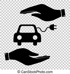 Eco electrocar sign. Save or protect symbol by hands.