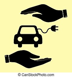 Save or protect symbol by hands. - Eco electrocar sign. Save...