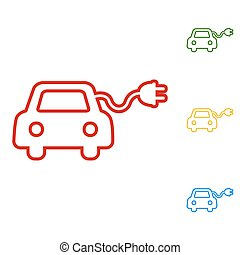 Eco electrocar sign. Set of line icons. Red, green, yellow ...