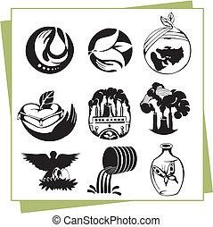 eco, elementi, disegno, icone